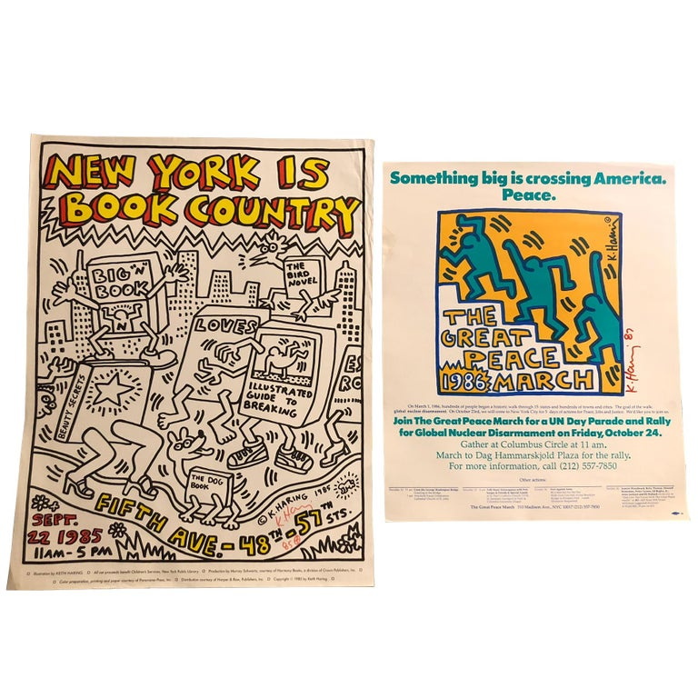 Two Signed Keith Haring Posters For Sale
