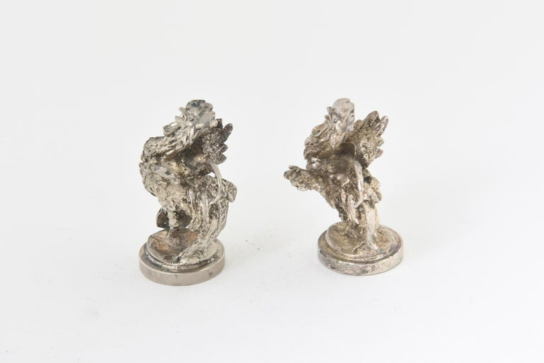 Metalwork Two Silver Plate Rooster Menus or Place Card Holders, a Pair For Sale