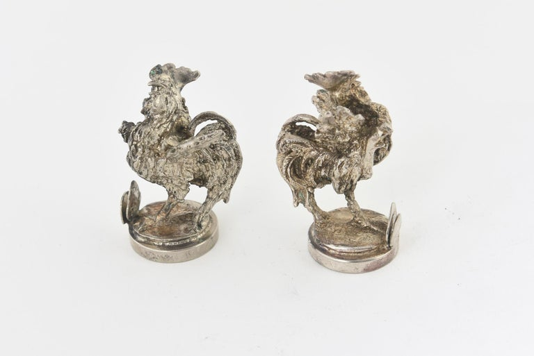 Two Silver Plate Rooster Menus or Place Card Holders, a Pair For Sale 2