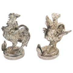 Two Silver Plate Rooster Menus or Place Card Holders, a Pair