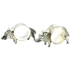 Two Silver plated Wild Boar Napkin Rings, WMF, Germany, 1930s