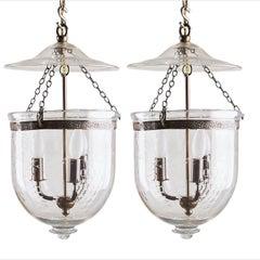 Two Similar Bell Jar Lantern with Grapes, circa 1900