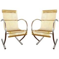 Pair of Sing Sing Sing Original Yellow Steel Chairs, Shiro Kuramata Pastoe 1985