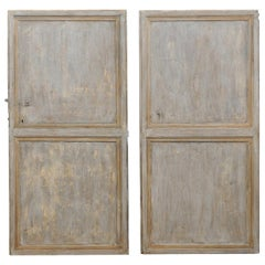 Two Single 19th Century Spanish Painted Recessed Panel Front Doors
