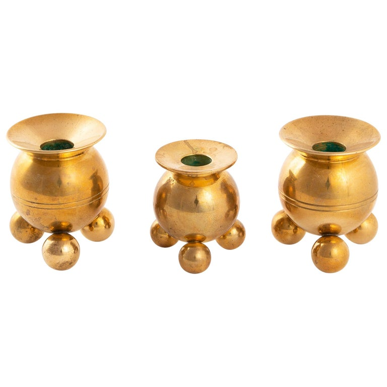 Two Skultuna and One Kolbäck Round Candleholders For Sale