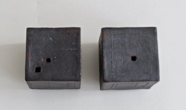 Organic Modern Two Small Contemplation Boxes, Cubes, Hand Built Glazed Stoneware For Sale