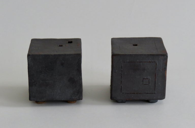 American Two Small Contemplation Boxes, Cubes, Hand Built Glazed Stoneware For Sale