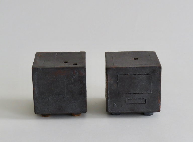 Two Small Contemplation Boxes, Cubes, Hand Built Glazed Stoneware In New Condition For Sale In New York, NY