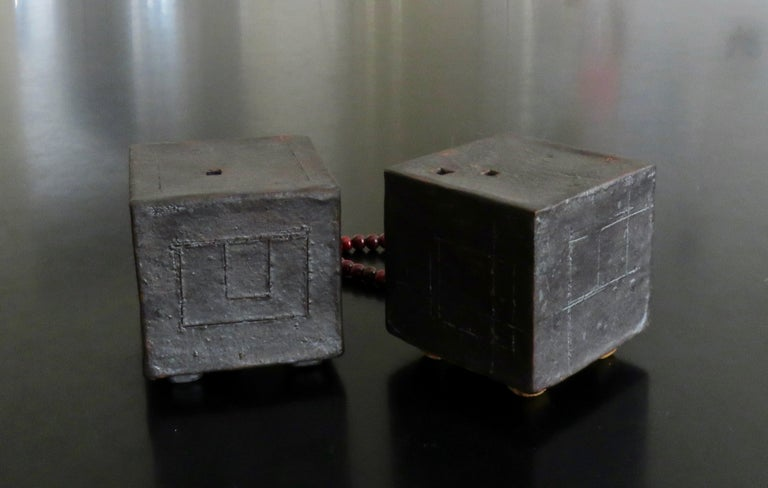 Contemporary Two Small Contemplation Boxes, Cubes, Hand Built Glazed Stoneware For Sale