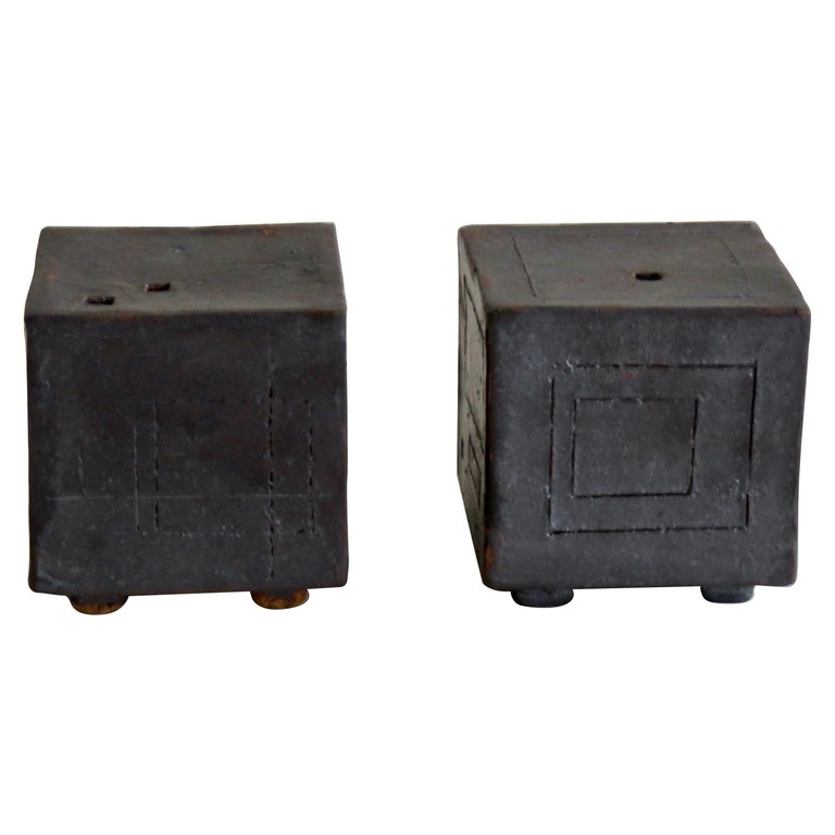 Two Small Contemplation Boxes, Cubes, Hand Built Glazed Stoneware For Sale