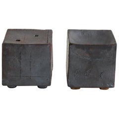 Two Small Contemplation Boxes 'Vase', Hand Built Ceramic, Rustic Metallic Glaze