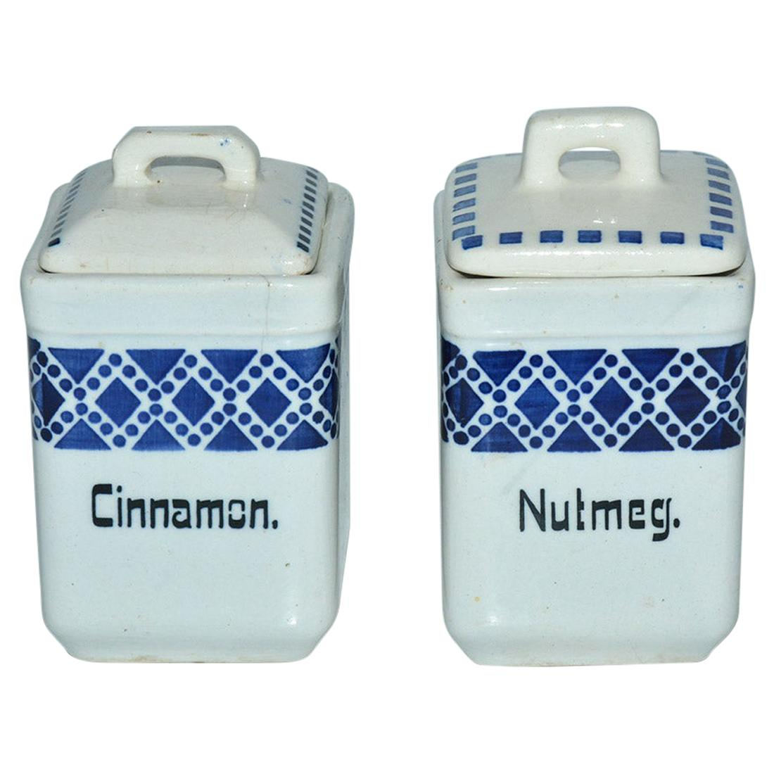 Two Small Hand Painted Vintage Pottery Canisters