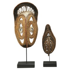 Two Small Tightly Woven Basketry New Guinea Yam Masks, Incrusted Paints