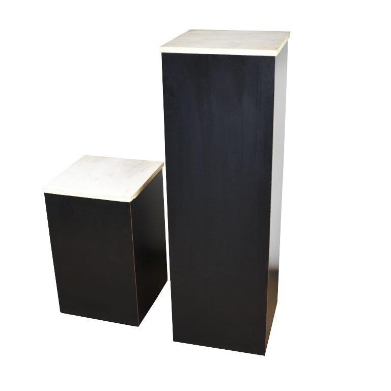 American Two Square Black Marble and Wood Plinth Pedestals with Marble Tops, a Pair For Sale