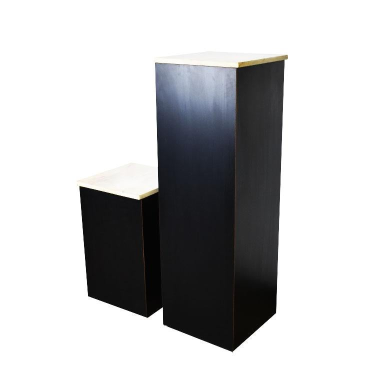 Two Square Black Marble and Wood Plinth Pedestals with Marble Tops, a Pair In Good Condition For Sale In Oklahoma City, OK