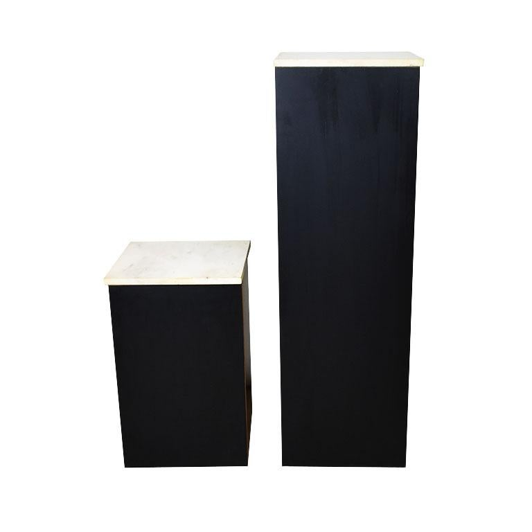 20th Century Two Square Black Marble and Wood Plinth Pedestals with Marble Tops, a Pair For Sale