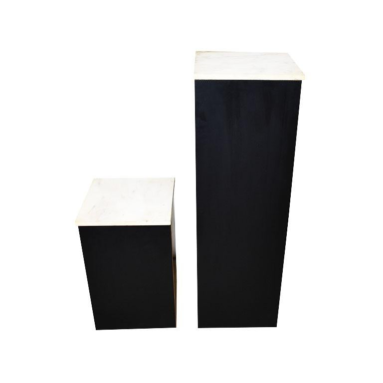 Stone Two Square Black Marble and Wood Plinth Pedestals with Marble Tops, a Pair For Sale