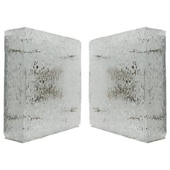 Two Square Kalmar Textured Glass Flush Mount Lights or Sconces 'Hippolyt', 1960s