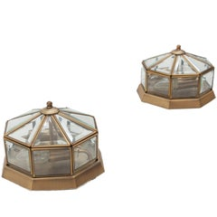 Two Steinhauer Flush Mount Lamps