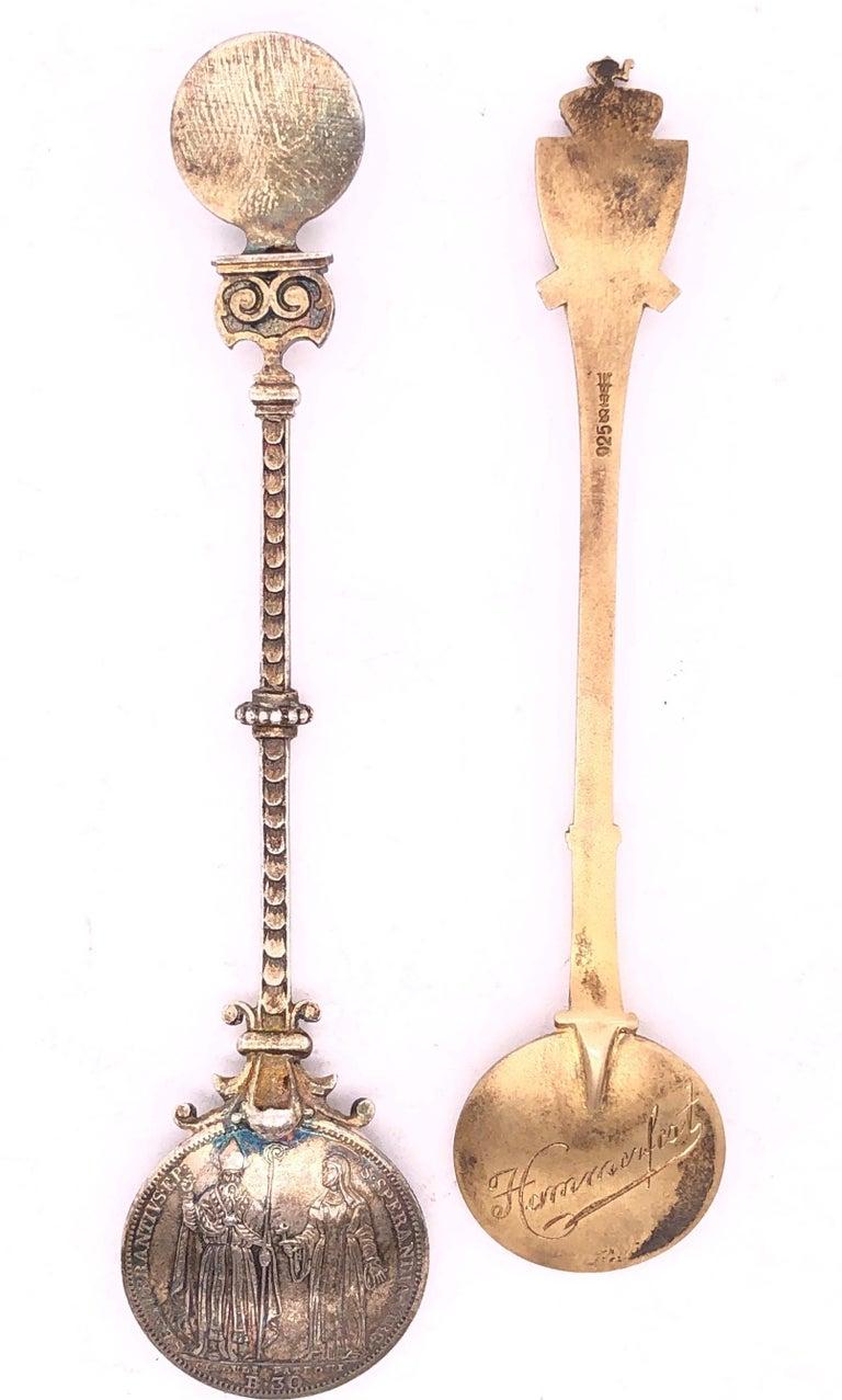 Artisan Two Sterling Silver Enamel Souvenir Spoons