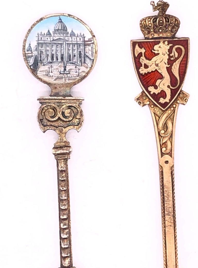 Two Sterling Silver Enamel Souvenir Spoons