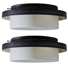 Two Stilnovo Flush Mounts Ceiling Lights