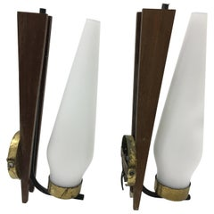 Two Stilnovo Style Mid-Century Modern Italian Teak and Brass Wall Sconces, 1950
