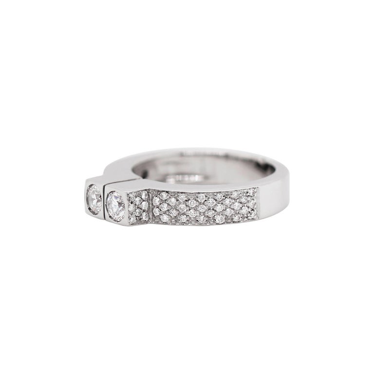 Modern Two-Stone Diamond 80% White Gold Dress Ring For Sale