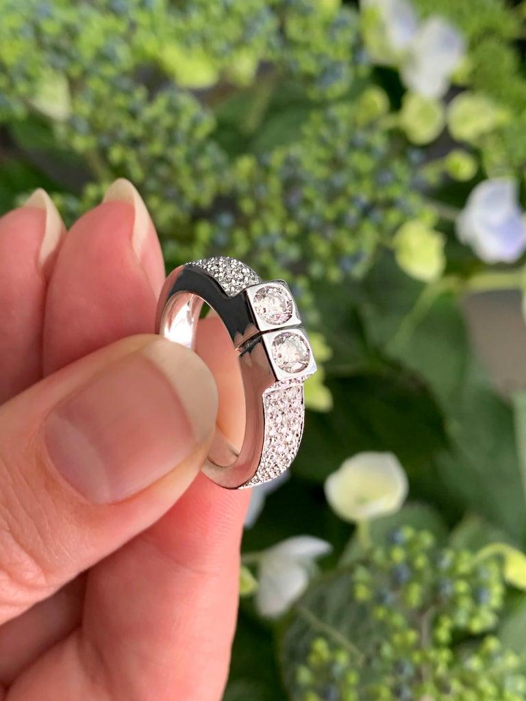 Women's Two-Stone Diamond 80% White Gold Dress Ring For Sale