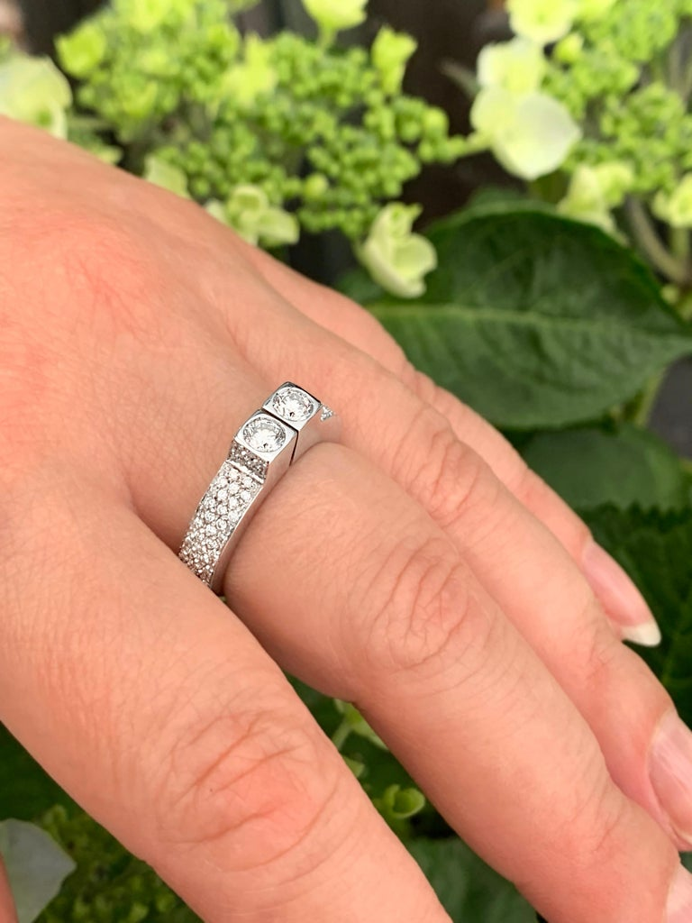 Two-Stone Diamond 80% White Gold Dress Ring For Sale 1