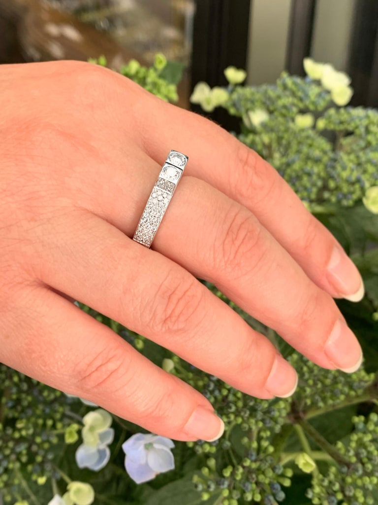 Two-Stone Diamond 80% White Gold Dress Ring For Sale 2