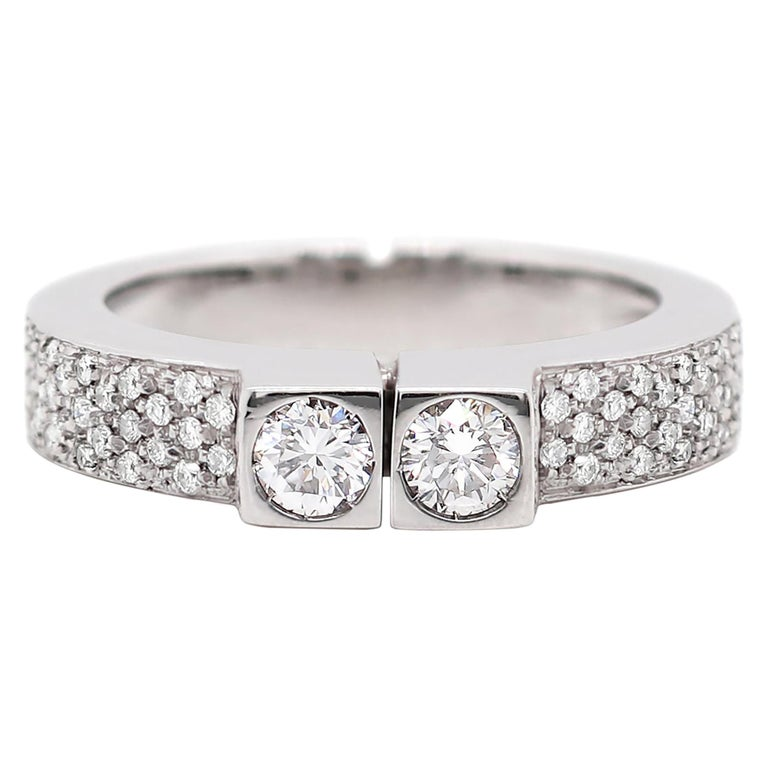 Two-Stone Diamond 80% White Gold Dress Ring For Sale