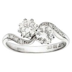 Two-Stone Diamond Cross over Ring