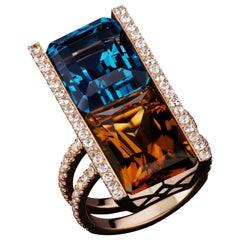 JAG New York 20 Karat Blue Topaz, Cinnamon Quartz and White Sapphire Ring