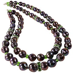 Gemjunky Two Strand Purple Iridescent Pearl Necklace with Bright Green Accents