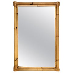 Two-Strand Rectangle Rattan Mirror with Stick Rattan Border