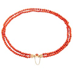 Art Deco 14 Karat Gold Multi-Strand Coral Necklace