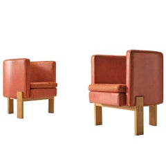 Erik Kalström High Back Coral Leather Chairs