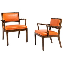 Two Stylized Bamboo Framed Armchairs by William Haines