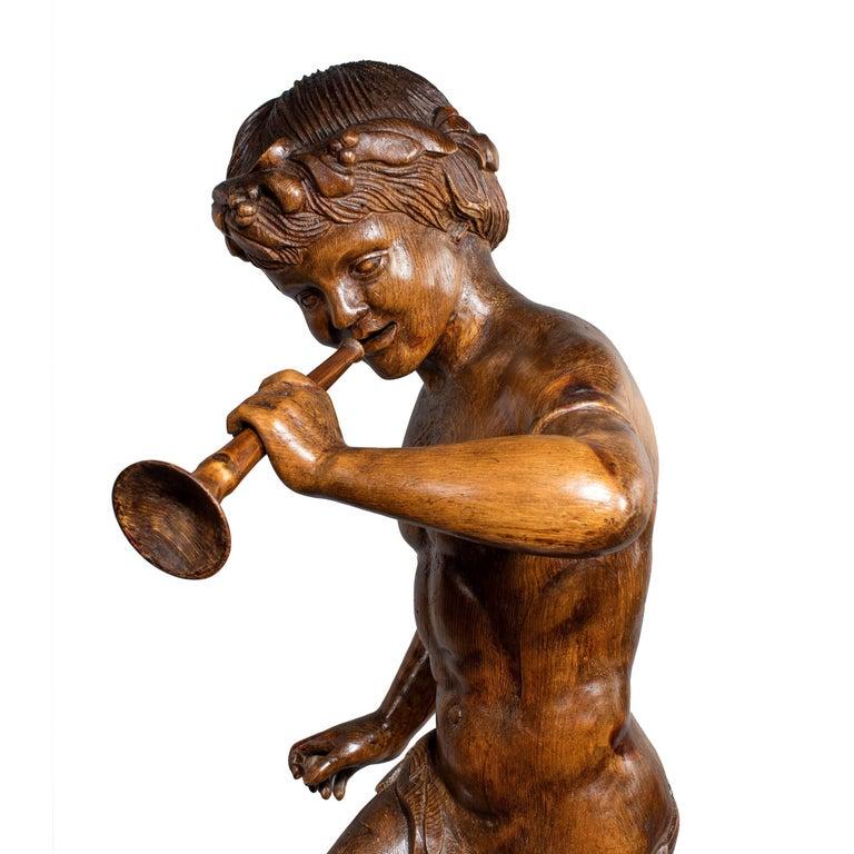 19th Century Two Superb Italian Pine Bacchanalian Figures For Sale