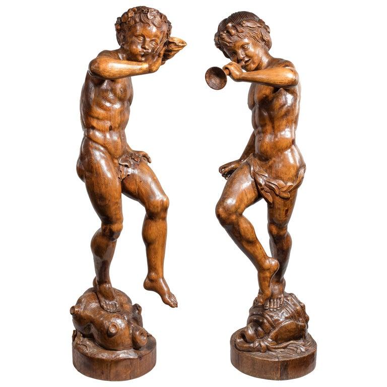 Two Superb Italian Pine Bacchanalian Figures For Sale