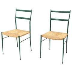 Two Superleggera Style Chairs in Metal, Attributed to Gio Ponti