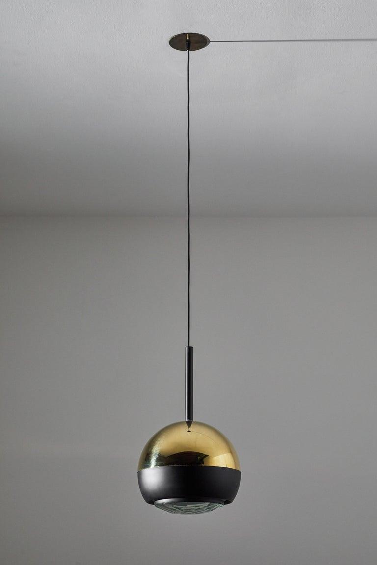 Brass Two Suspension Lights by Stilnovo For Sale