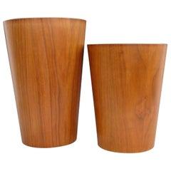 Two Swedish Teak Rainbow Waste Baskets with Blonde Wood Interiors