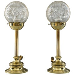 Two Table Lamps Art Deco circa 1920 with Original Glasses