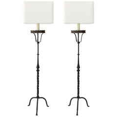 Two Tall Forged Iron Floor Lamps