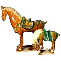 Two Tang Sancai Glazed Ceramic Horses, Stamped