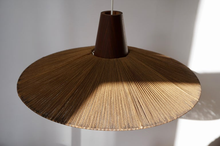Two Teak and Cord Shade Hanging Lamps For Sale 6