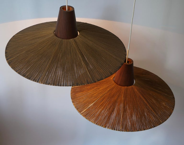 Two Teak and Cord Shade Hanging Lamps For Sale 8