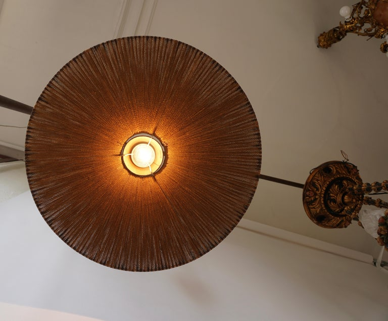 Two Teak and Cord Shade Hanging Lamps For Sale 9